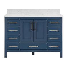 "Kendall Midnight Blue Bathroom Vanity, 48"", With Carrara Marble Top"