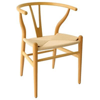 Mid Century Chair Wood, Wishbone Chair With Nature Seat, Nature