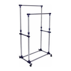 Modern Clothes, Stainless Steel Rack With Wheels and Double Hanging Rail