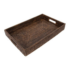 Artifacts Trading Company - Artifacts Rattan Rectangular Tray, Espresso - Serving Trays