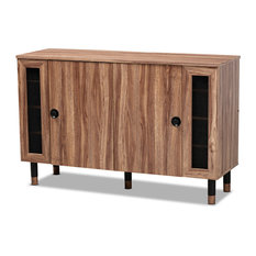 Valina 2-Door Wood Entryway Shoe Storage Cabinet With Screen Inserts