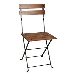 French Cafe Bistro Folding Side Chair, Set of 2, Black Frame, Chestnut Slats