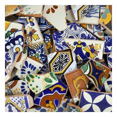 Broken Talavera Mexican Tile in Mixed Decorative Tiles, 10 Pounds