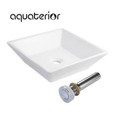 """Aquaterior 16x16x4"""" Ceramic Bathroom Vessel Sink Square Porcelain with Drain"""