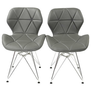 Contemporary Set of 2 Chairs, Chrome Metal Legs and Faux Leather Padded Seat