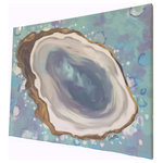 My Island - Oyster Canvas Painting, Gallery Wrapped, 16x20 - This lovely oyster on canvas  will add a touch of happiness to any home!  In soothing shades of blue, gray, and turquoise, it is available in 2 sizes and is  the perfect size for a space where a touch of the coast is needed!  The canvas is gallery wrapped..... no framing needed.  Created by artist, Gerri Hyman