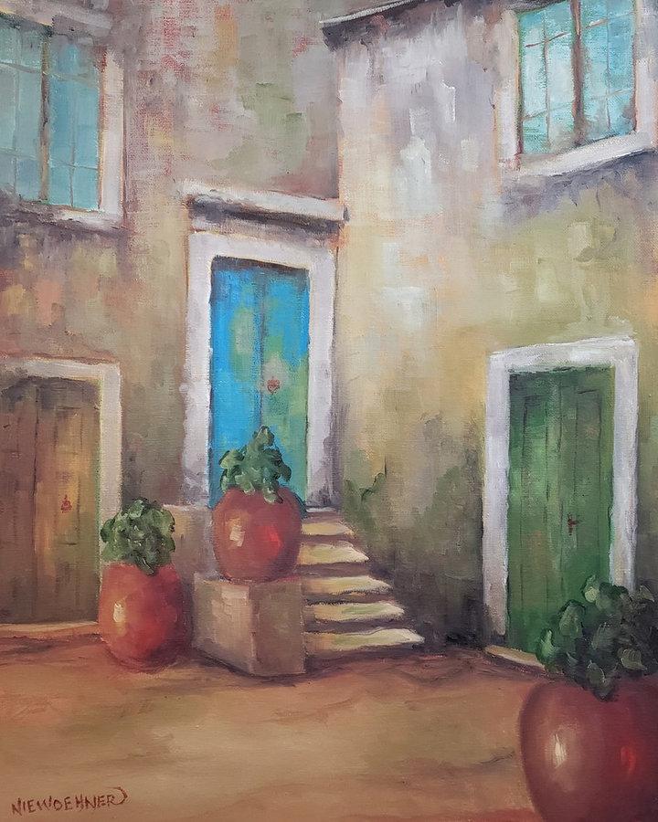 Three Doors, 20x16, framed