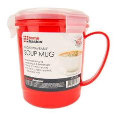 Plastic Microwaveable Soup Mug, Red/Clear, 24 oz
