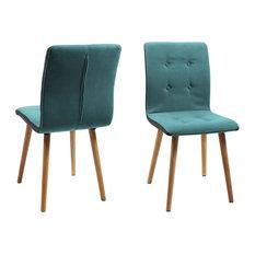 Fridi Dining Chair, Light Petrol Fabric, Set of 2