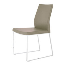 Pasha Sled Chair, Stainless Steel Base, Bone Ppm