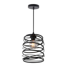 Battery operated pendant lights houzz unitary metal spiral shade pendant light black pendant lighting mozeypictures Choice Image