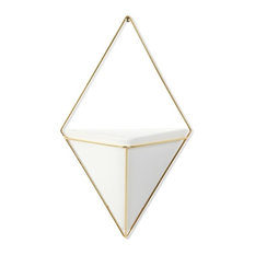 Umbra Trigg Wall Display, White and Brass
