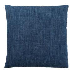 """18""""x18"""" Pillow, Linen Patterned Dark Blue, 1-Piece"""