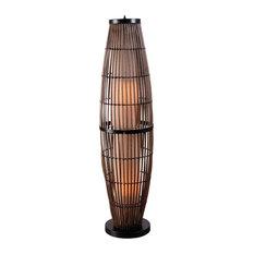 Biscayne 2-Light Outdoor Floor Lamp Bronze Accent/Rattan Clear Glass