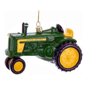 Kurt Adler John Deere Farm Tractor Licensed  Holiday Ornament Glass