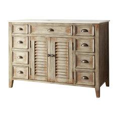 Chans Furniture Abbeville Bathroom Vanity Distressed Beige 46 Vanities And