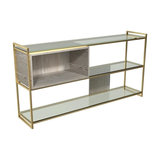 Federico Low Bookcase, Weathered Oak, Brass Accent