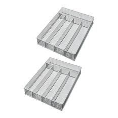 "YBM Home Silver Mesh 5-part Flatware Tray 12.5""x9.25""x2"", 2-Pack"