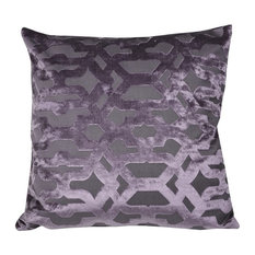Velvet Geo Purple Feather Filled Decorative Throw Pillow Square Cushion, 20X20