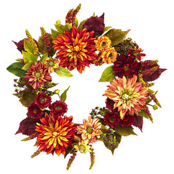 Contemporary Wreaths And Garlands by Nearly Natural, Inc.