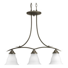 Progress Lighting 3-Light Chandelier With Etched Glass Shades, Antique Bronze