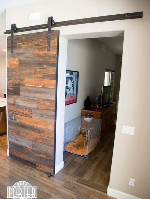 Sliding Barn Door Reclaimed Hemlock Siding With Orange Accents