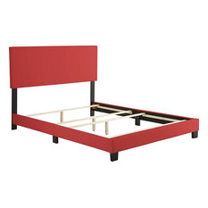 Queen Size Platform Bed Frame With Headboard, Red Faux Leather Upholstery