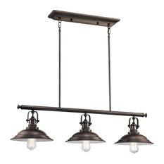 Bowery 3-Light Industrial Island Fixture Edison Filament Bulbs, Burnished Bronze