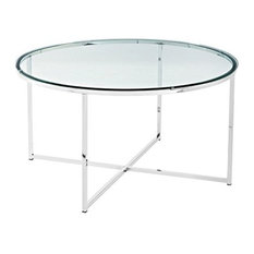 Contemporary Stylish Coffee Table With Painted Metal Frame Round Design
