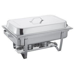 Stainless Steel Chafing Dish Food Pan Warmer 13.5 l., Double With 2 Fuel Holders