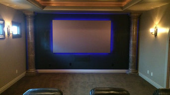 """7.2 home theater with 120"""" black diamond led backlit screen"""