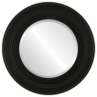 "Palomar Framed Round Mirror in Rubbed Black, 38""x38"""