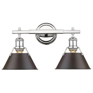 Orwell CH 2-Light Bath Vanity, Chrome With Rubbed Bronze Shade