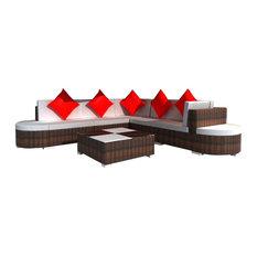 VidaXL   VidaXL 27 Piece Garden Lounge Set, Brown Poly Rattan   Outdoor  Lounge