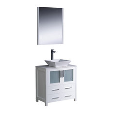 "Fresca Torino 30"" White Modern Bathroom Vanity, Vessel Sink"