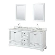 "Deborah 72"" Double Vanity, 24"" Mirrors, White, White Carrera Marble, Undermount"