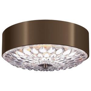 3-Light Small Flush Mount Ceiling Light, Dark Aged Brass, Small
