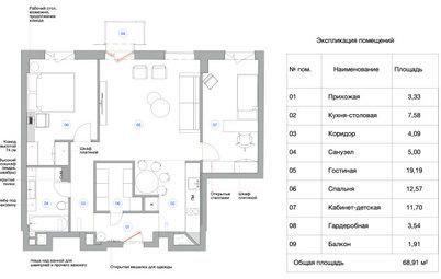 Поиск планировки: 6 вариантов и финал — для апартаментов 71 кв.м
