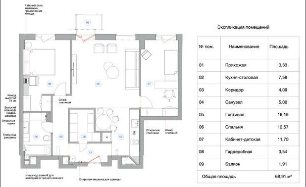 Поиск планировки: 6 вариантов + финал для двушки с ярким ковром