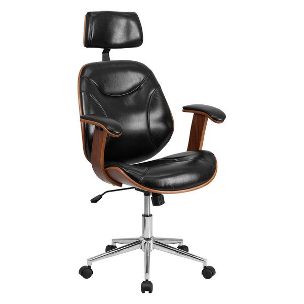 MFO High Back Black Leather Executive Wood Office Chair
