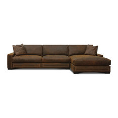 Downtown Cowboy Top Grain Leather Sectional with Chaise, Right Facing, Brown