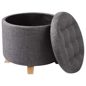 Modern Ottoman Round Storage Box, Linen Fabric, Dark Grey