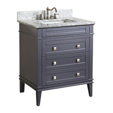 Kitchen Bath Collection Eleanor Bathroom Vanity With Carrara Top Charcoal Gray 30