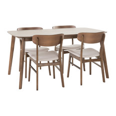 "5-Piece Lucille Fabric/Natural Walnut Finish 60"" Rectangular Dining Set"