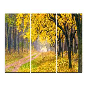 """Bright Yellow Autumn Forest"" Photo Wall Art, 3 Panels, 36""x28"""
