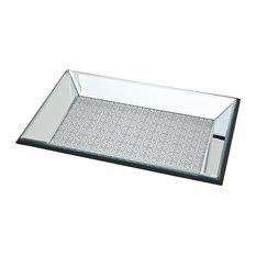 8x12 Scroll Silver Glitter Mirror Tray Frame