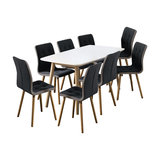Nagane Extending Table And Fridi Chairs, Dark Grey Fabric, 8 Chairs