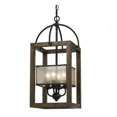 Cal Lighting FX-3536-4 4-Light Mission Wood and Metal Chandelier, Dark Bronze