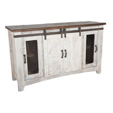 """- Rustic White Wash 70"""" TV Stand - Entertainment Centers and Tv Stands"""