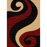 "Rugnur - Istanbul Hand-Carved Tribal Fire Flame Rug, Red and Black, 7'11""x9'10"" - The ultimate in style and sophistication, the rugs of the Istanbul Collection combine shimmering heat-set polypropylene in high-knot count with a 14-millimeter pile height. The area rugs that measure 5'3""x7'2"" and 7'11""x9'10"" feature hand-carved designs at specific color lines to create a work of art for the floor that will add pizzazz to contemporary decor."